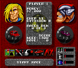 Rock n' Roll Racing SNES Here you can adjust some settings before the race. And buy other upgrades too!