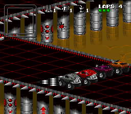 Rock n' Roll Racing SNES The start grid.