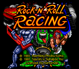 Rock n' Roll Racing SNES Title screen.
