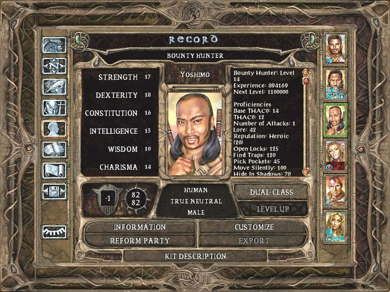Baldur's Gate II: Shadows of Amn Windows The character screen. Yoshimo is one of your new companions.