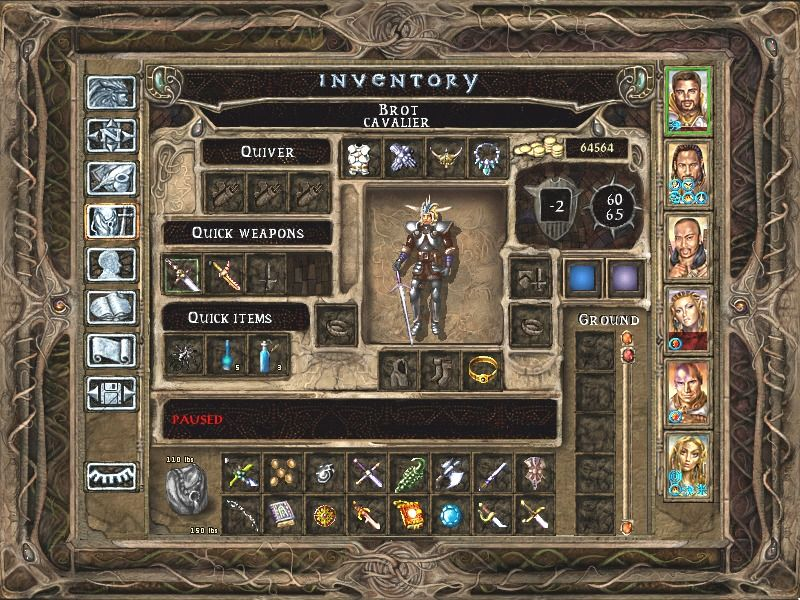 Baldur's Gate II: Shadows of Amn Windows A typical inventory screen, full of cool stuff.