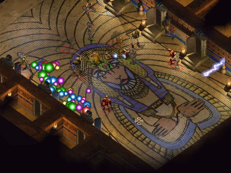 Baldur's Gate II: Shadows of Amn Windows Battling undead foes in an ancient tomb.