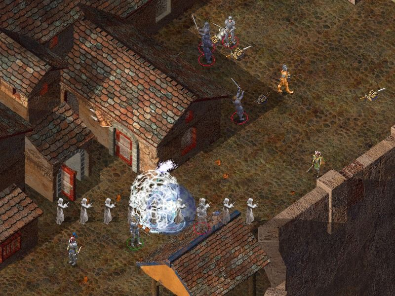 Baldur's Gate II: Shadows of Amn Windows A fight against fallen paladins at daytime...