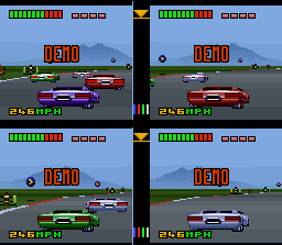 Top Gear 3000 SNES This demo shows the VS MODE 4-player gameplay. The screen space is short, but the competition is guaranteed.