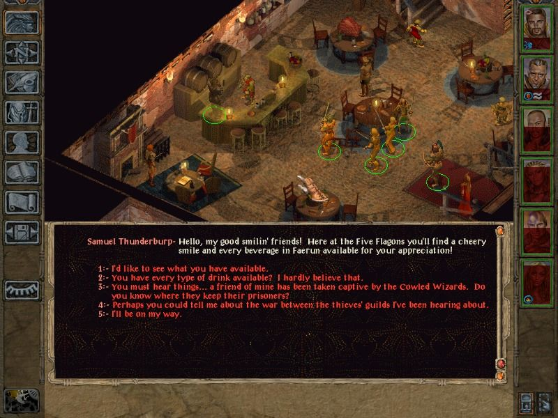 Baldur's Gate II: Shadows of Amn Windows The message screen pops up for (multiple choice) dialogues.