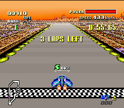 F-Zero SNES You'll receive a S-JET (Turbo) in each lap completed. This is the exact moment where you earn one...