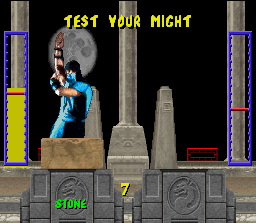 Mortal Kombat SNES Press A and B buttons quickly to increase the power level and reach the red line (or exceeds it). Then press any block button (L or R) to break the object and test your might.