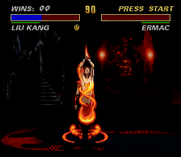 Ultimate Mortal Kombat 3 SNES Liu Kang can enter inside the enemy during its fatality. Very burning, guy!