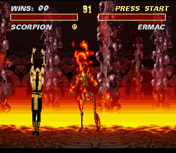 Ultimate Mortal Kombat 3 SNES Ermac meets Scorpion's hell!