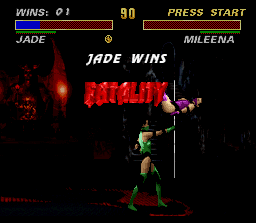 "Ultimate Mortal Kombat 3 SNES Nobody would support a blow in this ""place"". Nor the strongest fighter!"