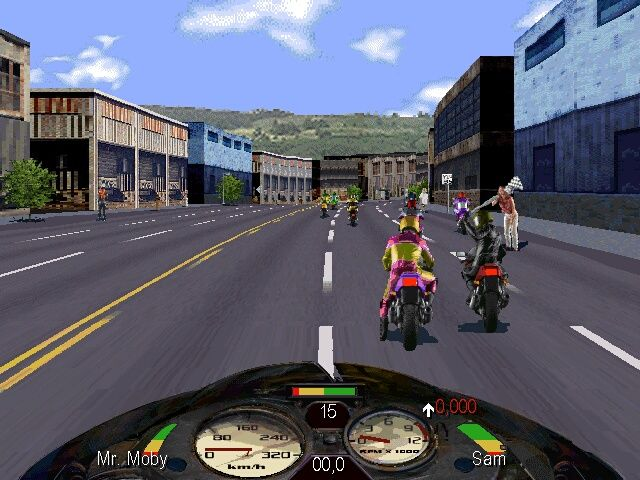 Road Rash Windows Start of the race. Already someone is attempting to knock my head off
