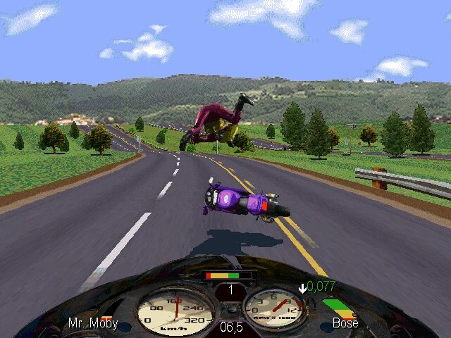 Road Rash Windows Ouch!! Cars and other objects on the road will send you flying