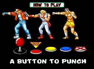"Fatal Fury Neo Geo ""How To Play"" screen: learn the basic commands here."