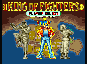 Fatal Fury Neo Geo Only 3 characters are available: Terry Bogard (where the cursor is), Joe Higashi (in the left) and Andy Bogard (in the right).