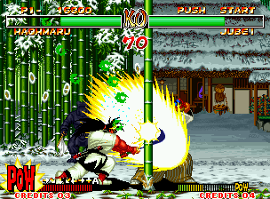 Samurai Shodown II Neo Geo Haohmaru using great part of its immense force.