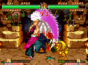 Samurai Shodown II Neo Geo This Genjuro's special move has a strong visual. To protect itself of moves like this, use heavy accessories: swords and iron arms function perfectly!