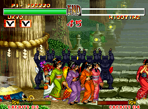"Samurai Shodown II Neo Geo The girls who pass for the screen receive uninterrupted applause from the ""commission judge"". It seems that they never seen many together beauty!"