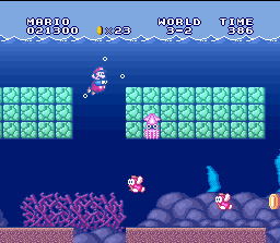 Super Mario All-Stars + Super Mario World SNES Swimming helps to revitalize the muscles. But, if possible, swim alone...