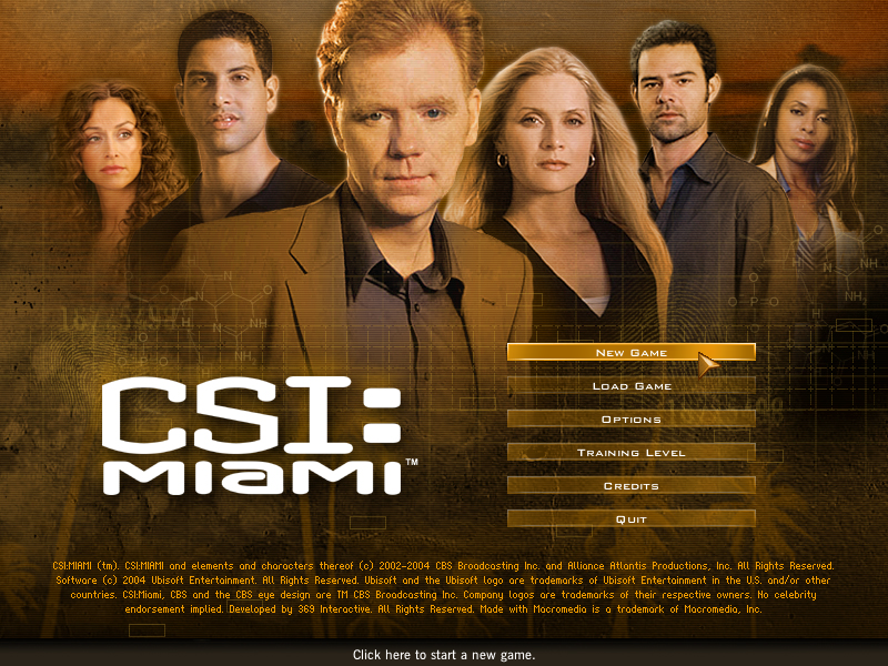 CSI: Miami Windows Main Menu