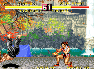 Fighter's History Dynamite Neo Geo Falling down