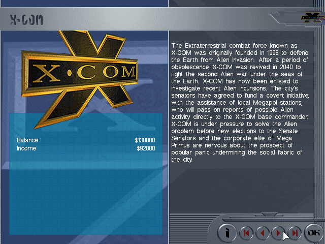 X-COM: Apocalypse DOS The noble X-COM organization, once again called to defend humanity from alien invaders intent on mutilating our cattle and stealing our women.