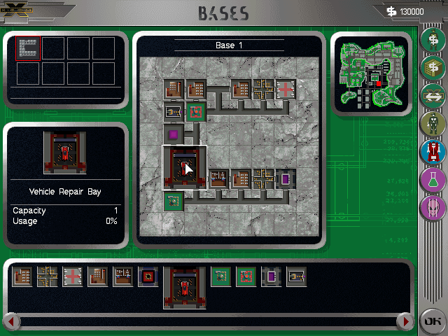 X-COM: Apocalypse DOS Your base layout is determined by the building it's in.