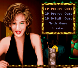 Side Pocket SNES A smiling young woman makes company to you in the menu screen. Nice to meet her!