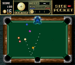 Side Pocket SNES Pay attention: sinking one ball in this (or in other) blue-star hole, you'll enter in a TRICK bonus game after you complete the level.