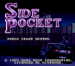 Side Pocket SNES Title screen.