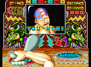 Fatal Fury Neo Geo Press the A Button quickly to increase your strength and complete the Bonus Area!