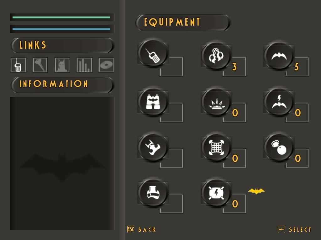 Batman: Vengeance Windows The inventory and gadgets screen