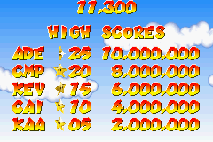 Mario Pinball Land Game Boy Advance High score table with high default scores.