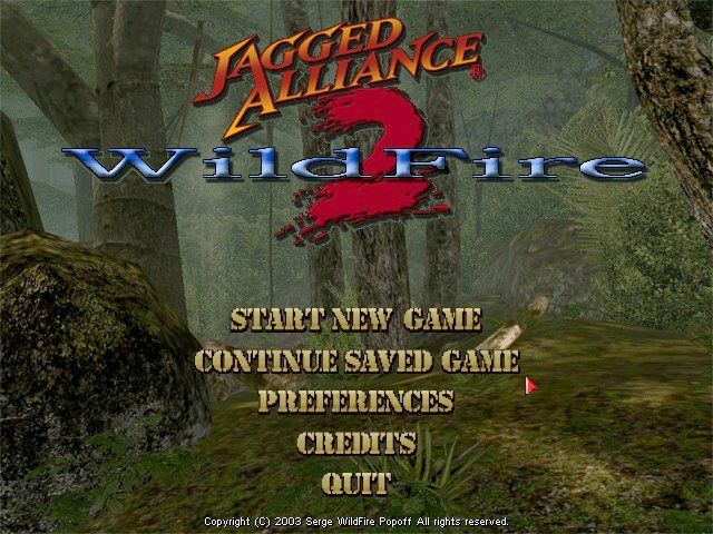 "Jagged Alliance 2: Wildfire Windows The new and ""improved"" Wildfire menu."