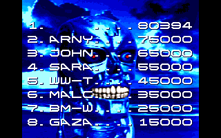 Terminator 2: Judgment Day Amiga Entering hi-score