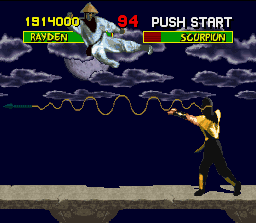 Mortal Kombat SNES This time, Scorpion's harpoon failed in catch the opponent and now the ninja will suffer the consequences...
