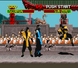Mortal Kombat SNES Two Scorpions fighting? No, only one of these is real...
