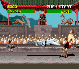 "Mortal Kombat SNES This Rayden's move leads the opponent until the ""wall"", where it suffers a strong impact."