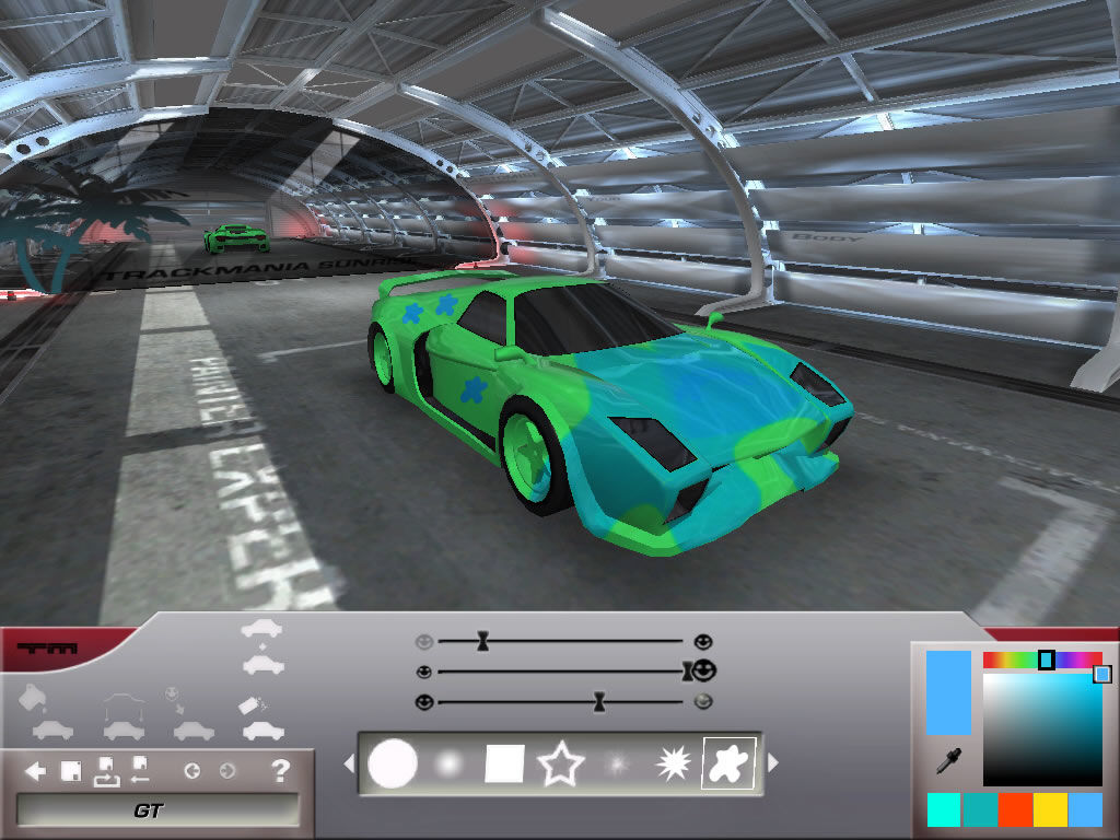 TrackMania Sunrise Windows Paint your car and apply decals