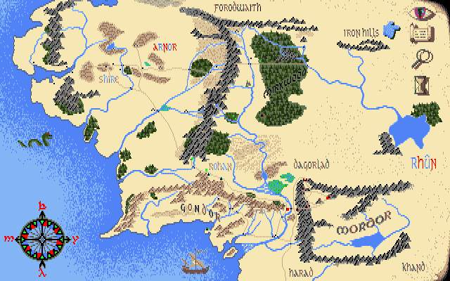 J.R.R. Tolkien's War in Middle Earth DOS Map of Middle Earth