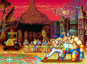 Fatal Fury Neo Geo Demonstration fight, with Andy Bogard using a potent elbow move.