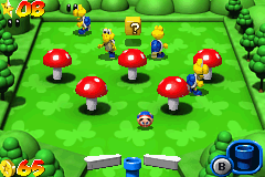 Mario Pinball Land Game Boy Advance Some Koopas are walking peacefully in a toadstool field, waiting the moment of death... ;-)