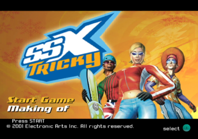 SSX Tricky GameCube Title screen / main menu