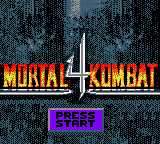 Mortal Kombat 4 Game Boy Color Title screen.