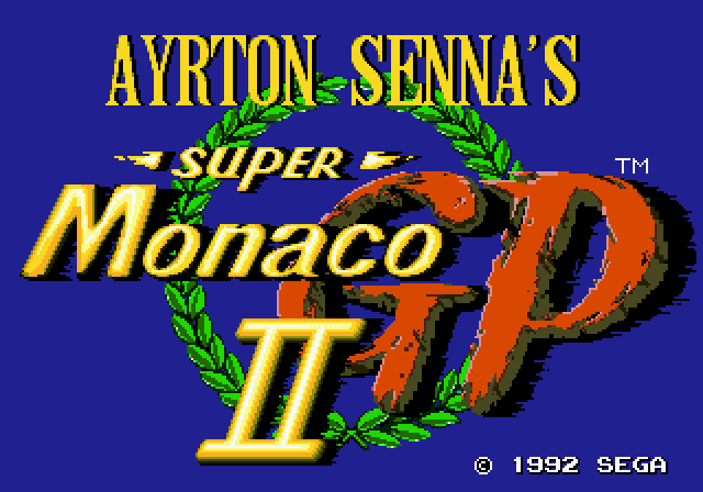 Ayrton Senna's Super Monaco GP II Genesis Title screen