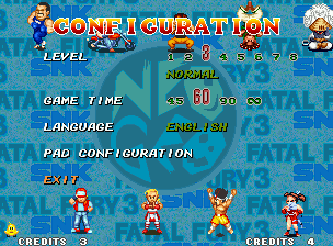 Fatal Fury 3: Road to the Final Victory Neo Geo Selecting OPTION, you can change the level, game time, your preferred language... and watch a funny characters performance!