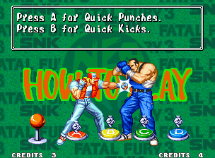 "Fatal Fury 3: Road to the Final Victory Neo Geo One more time, learn (or revise) the basic game moves in the classic ""How To Play"" screen."