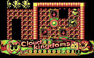 Cloud Kingdoms DOS Two varieties of bumpers designed to knock you into the pit (CGA)
