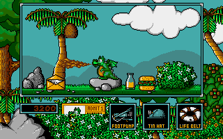 Little Puff in Dragonland Amiga With tin hat that coconut won't hurt you