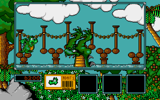 Little Puff in Dragonland Amiga Very last obstacle is a sea creature here