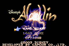Disney's Aladdin Game Boy Advance Title screen with main menu.